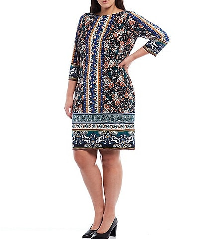 London Times Plus Size Round Neck 3/4 Sleeve Floral Printed Jersey Shift Dress