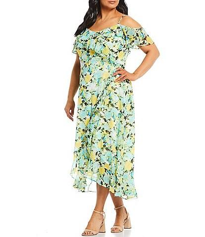 London Times Plus Size Floral Ruffle Cold Shoulder Midi Dress