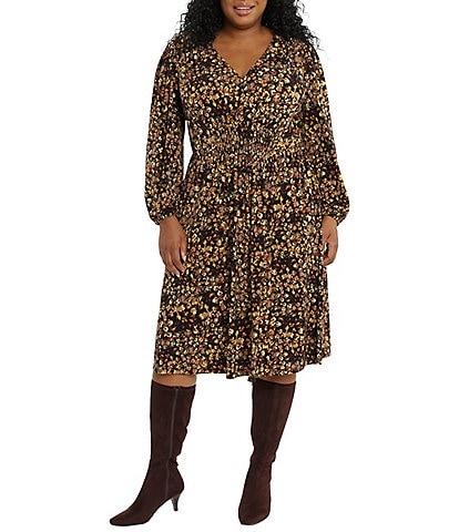 London Times Plus Size Matte Jersey V-Neck Smocked Long Bishop Sleeve Dress