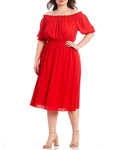 London Times Plus Size Off-the-Shoulder Puff Sleeve Crepe Midi Dress