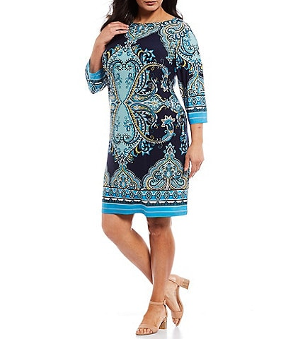London Times Plus Size Printed Jersey 3/4 Sleeve Shift Dress