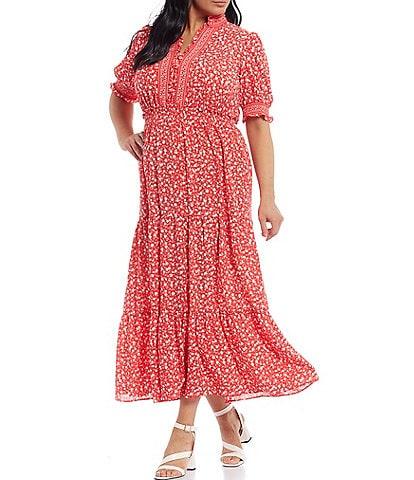 London Times Plus Size Ruffle Neck Smocked Puff Sleeve Tiered Midi Dress