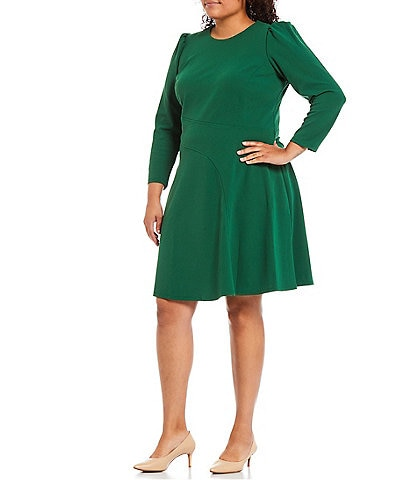 London Times Plus Size Scuba Crepe Crew Neck Long Sleeve Fit and Flare Dress