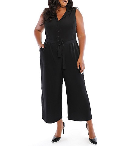 London Times Plus Size Sleeveless Notch Lapel Cropped Crepe Jumpsuit