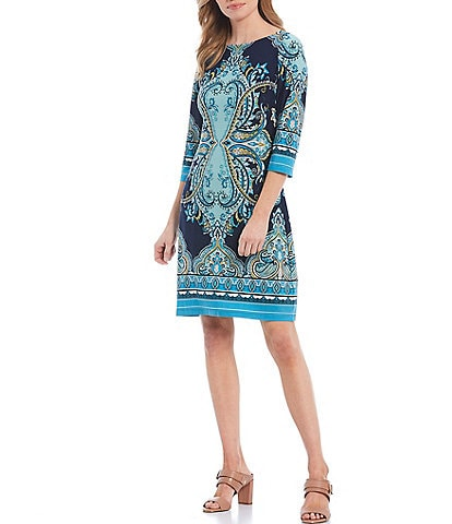 London Times Printed Jersey 3/4 Sleeve Shift Dress