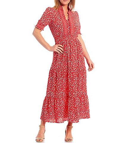 London Times Ruffle Neck Smocked Puff Sleeve Crepe Tiered Midi Dress