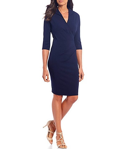 London Times Scuba Crepe V-Neck Sheath Dress