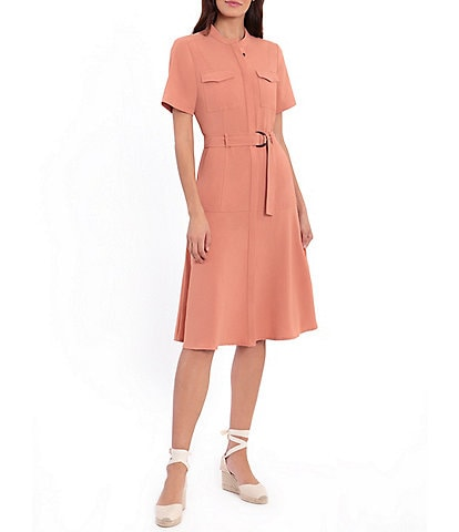 London Times Short Sleeve Button Front Collared Utility Shirtdress