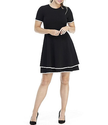 London Times Short Sleeve Two Tier Fit & Flare Dress