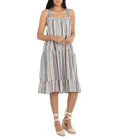 London Times Sleeveless Tiered Square Neck Swing Dress