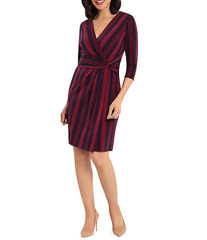 London Times Striped Matte Jersey Faux Wrap 3/4 Sleeve Dress