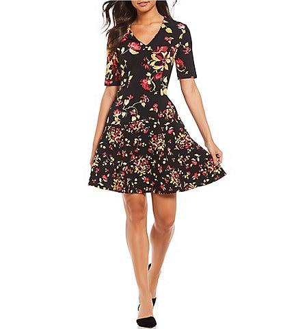 London Times V-Neck Floral Print A-Line Scuba Crepe Dress