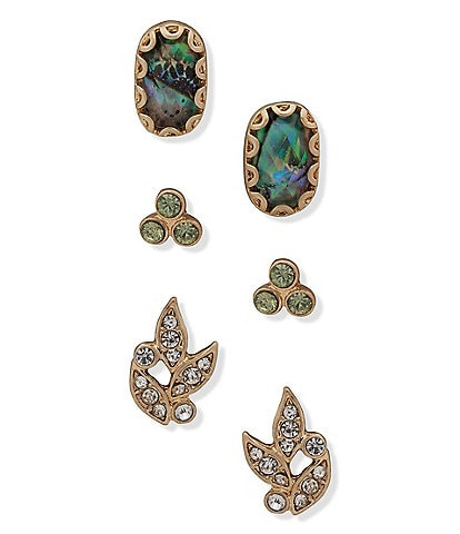 Lonna & Lilly Abalone Leaf Stone Trio Earrings Set