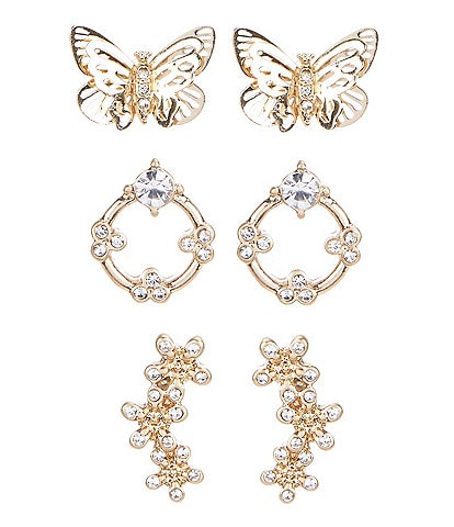Lonna & Lilly Butterfly and Flower Trio Stud Earrings Set