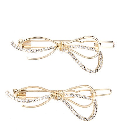 Lonna & Lilly Pave Bow Hair Barrettes