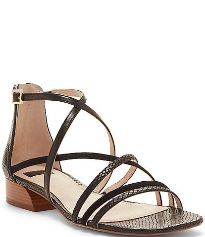 Louise et Cie Eleri Leather and Patent Snake Detail Strappy Square Toe Block Heel Sandals