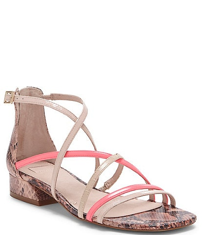 Louise et Cie Eleri Snake Detail Leather and Patent Strappy Square Toe Block Heel Sandals
