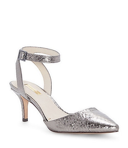 Louise et Cie Esperance Metallic Snake Print Embossed Leather Dress Pumps