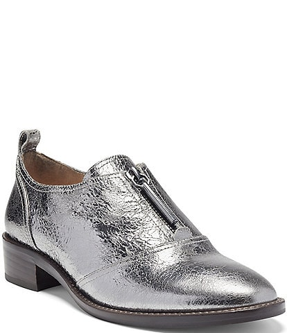 Louise et Cie Fadi Metallic Leather Block Heel Oxfords