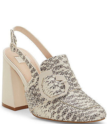 Louise et Cie Ilsa Snake Printed Leather Slingback Pumps