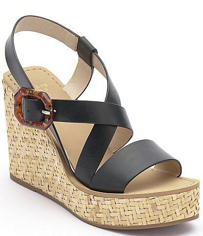 Louise et Cie Palina Leather Wedge Sandals