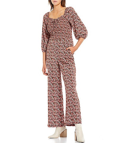 Love & Piece 3/4 Puff Sleeve Smocked Bodice Wide Leg Floral Printed Jumpsuit
