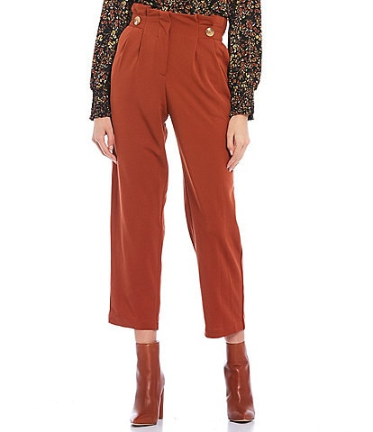 Love & Piece Button-Front High-Waist Pleated Pull-On Crop Pants