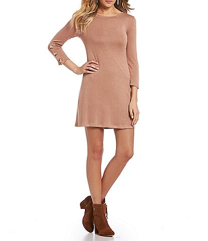 Love & Piece Button Sleeve Knit Shift Dress