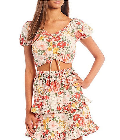Love & Piece Coordinating Cap-Sleeve Cinched Front Floral Print Top