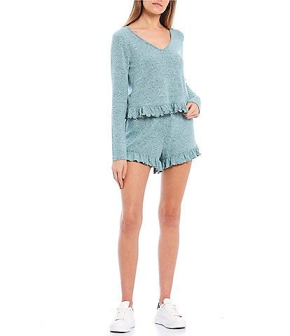 Love & Piece Coordinating Long Sleeve Ruffle Hem French Terry Top