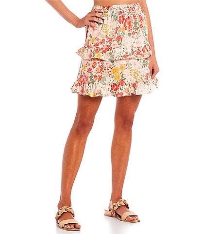 Love & Piece Coordinating Smocked-Waist Floral Print Ruffled Tiered Skirt
