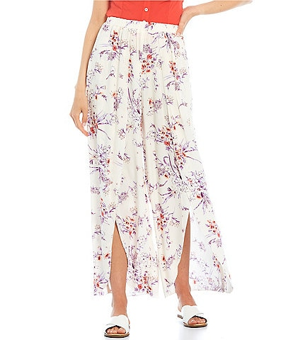 Love & Piece Floral Print Tulip Wide Leg Crop Pants