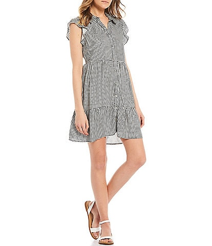 Love & Piece Gingham Print Button-Front Tiered Dress
