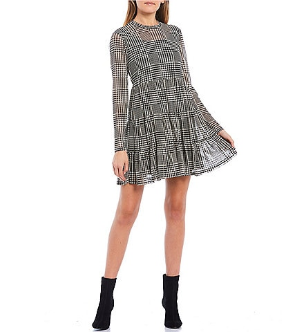Love & Piece Long-Sleeve Plaid Tiered Dress