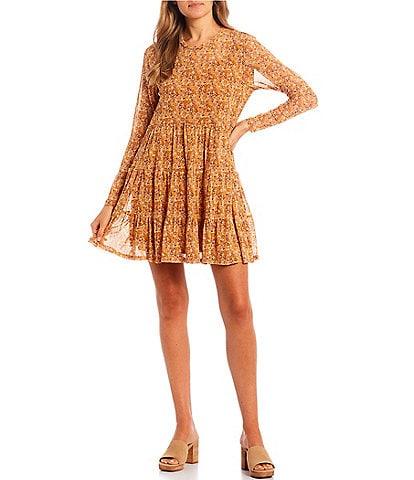 Love & Piece Long-Sleeve Printed Drop-Waist Dress