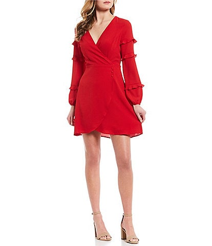 Love & Piece Long Sleeve Ruffle Trim Faux-Wrap Dress