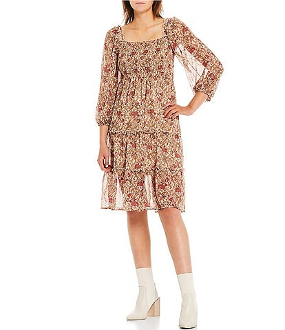Love & Piece Long-Sleeve Square Neck Balloon Sleeve Smocked Bodice Tiered Floral Pattern Dress