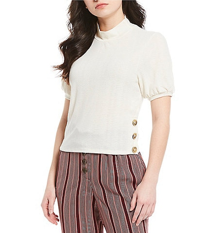Love & Piece Mock-Neck Button-Side Ribbed Knit Top