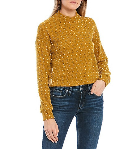 Love & Piece Mock Neck Dotted Side Button Detail Sweater