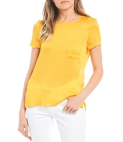 Love & Piece Pocket Front Satin Top