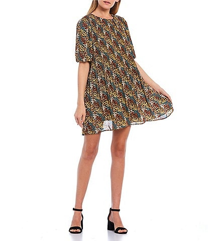 Love & Piece Puff Short-Sleeve Ditsy Floral Print Swing Dress