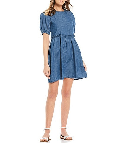 Love & Piece Short-Sleeve Chambray Babydoll Dress