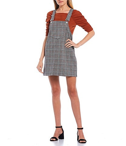 Love & Piece Sleeveless Plaid Print Jumper Dress