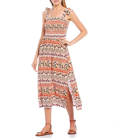 Love & Piece Smocked Bodice Printed Midi Dress