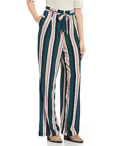 Love & Piece Paperbag Striped Wide Leg Pants