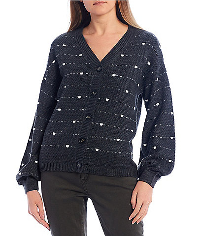 Love By Design Rio Dotted Balloon Sleeve Button Front Cardigan