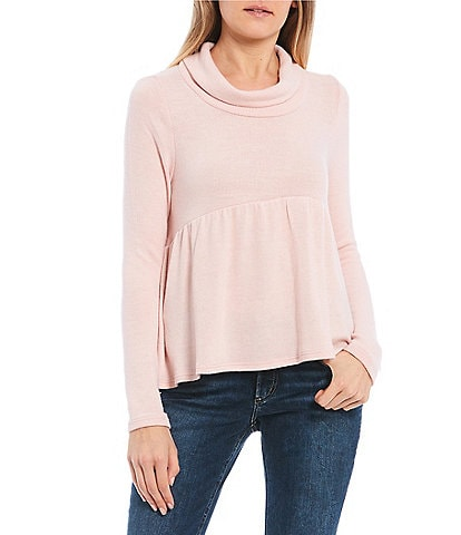 Love On A Hanger Long Sleeve Cowl Neck Babydoll Top