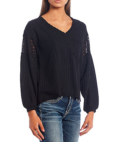 Love On A Hanger Long Sleeve Waffle Pocket Top
