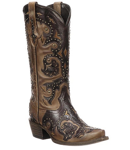 Lucchese Fiona Studded Leather Western Boots