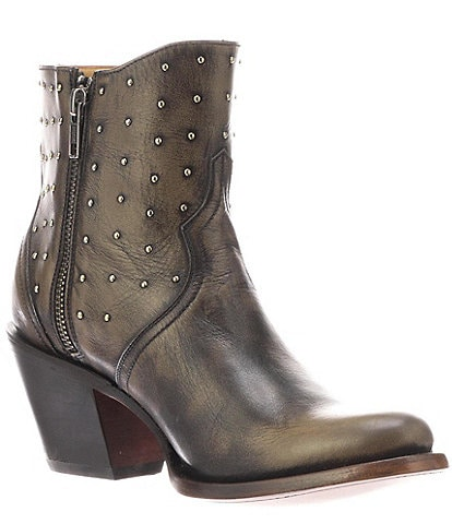 Lucchese Harley Studded Leather Western Moto Booties